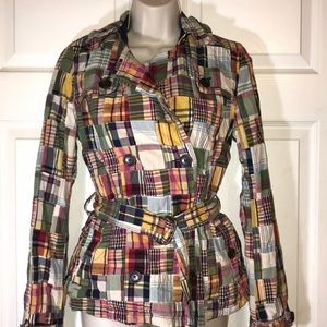 American Eagle Outfitters plaid pea coat with belt